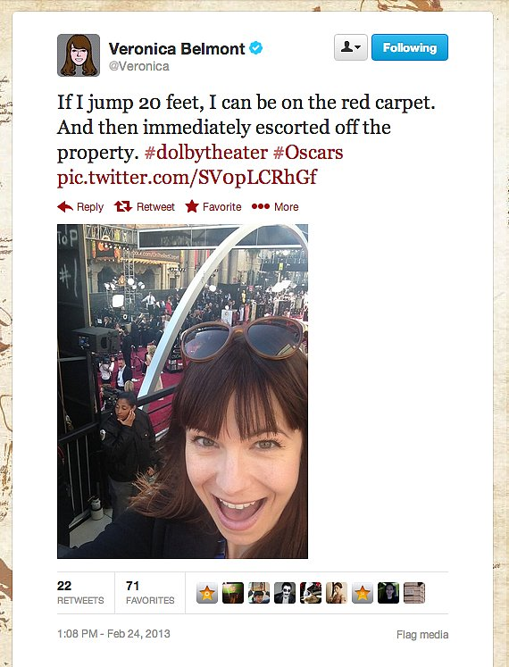 Tekzilla's Veronica Belmont narrowly escapes an Oscar red-carpet catastrophe.