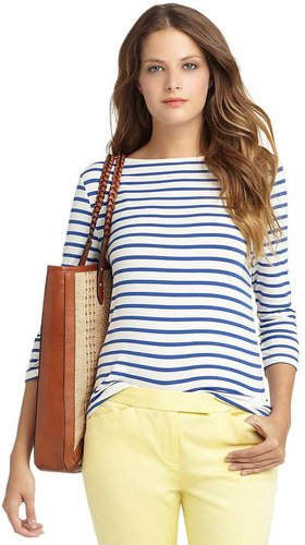 Three-Quarter Sleeve Boatneck Knit Top