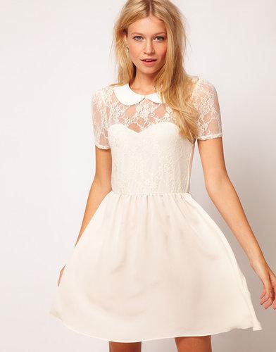 ASOS Lace Shirt Dress With Peterpan Collar