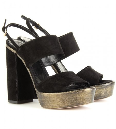 Chlo LEATHER STITCHED PLATFORM SANDALS