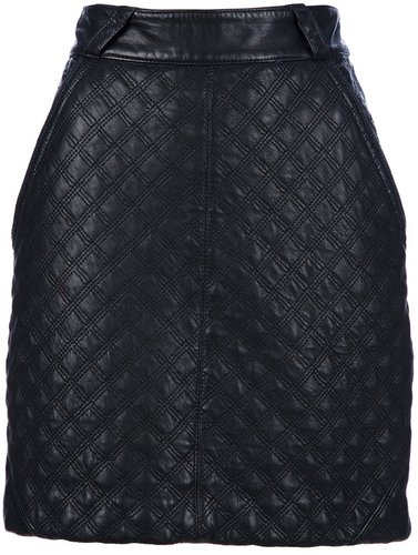 Gianni Versace Vintage stitch patterned leather skirt