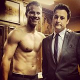 Sean shared a (shirtless) behind-the-scenes photo with Chris Harrison. Source: Instagram user seanloweksu