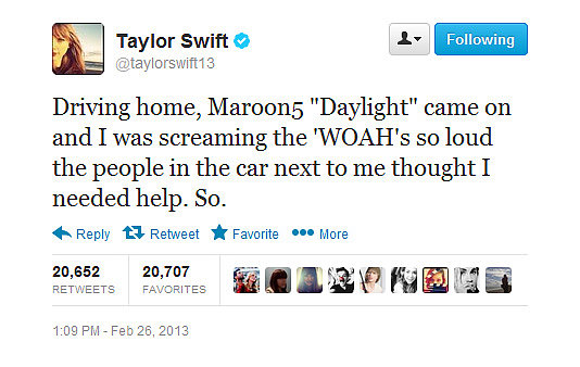 Would anyone mind if Taylor Swift pulled up in the car next to you, singing aloud?