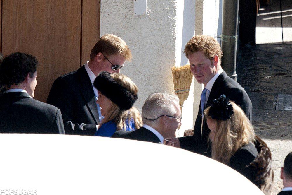 Prince Harry wore a tuxedo.