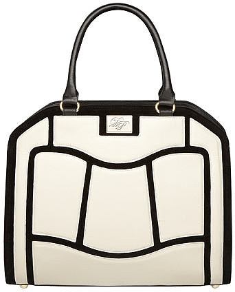 White and black pannelled bag