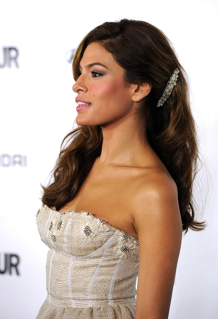 Her sideswept curls were accented with a pearl barrette for the Glamour Reel Moments event in 2010.