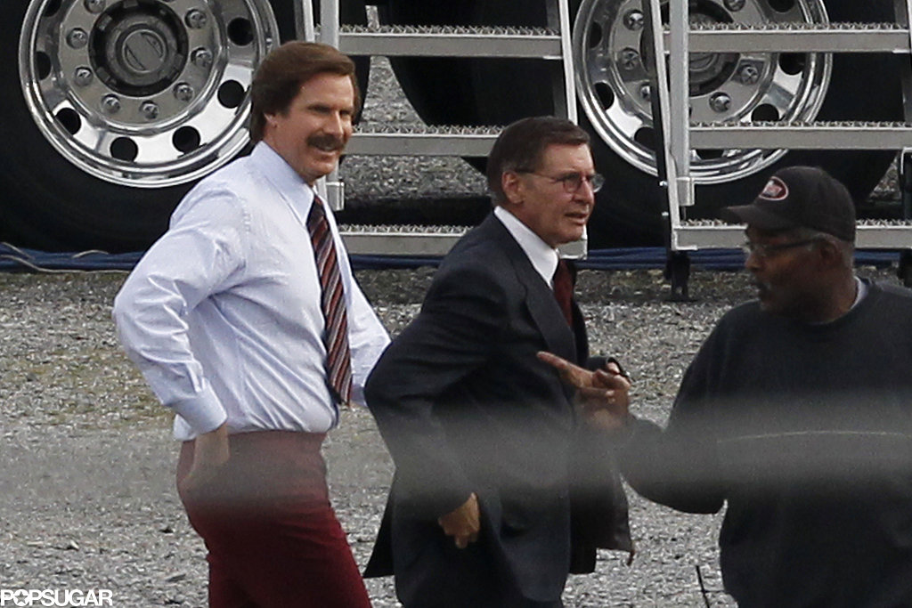 Will Ferrell and Harrison Ford on the set of Anchorman: The Legend Continues.