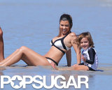 Kourtney Kardashian played in the sand with Mason.
