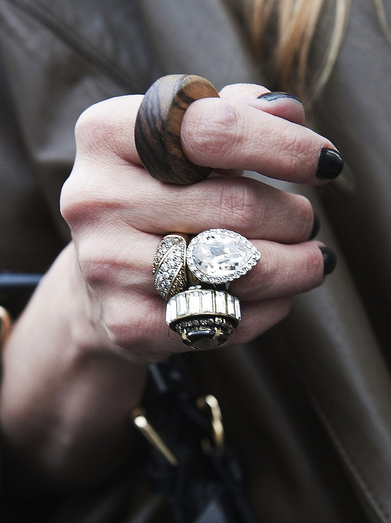 Wooden and rhinestone rings are a fresh and eclectic mix of accessories.
