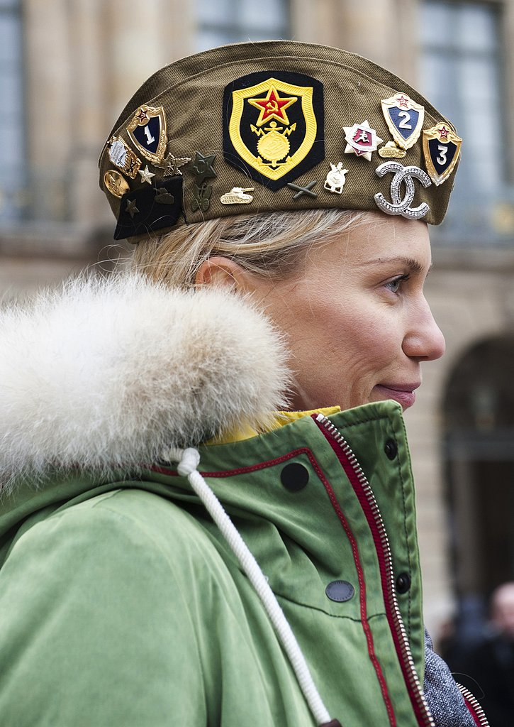 We love the mix of quirky and cool pins on this militant hat.