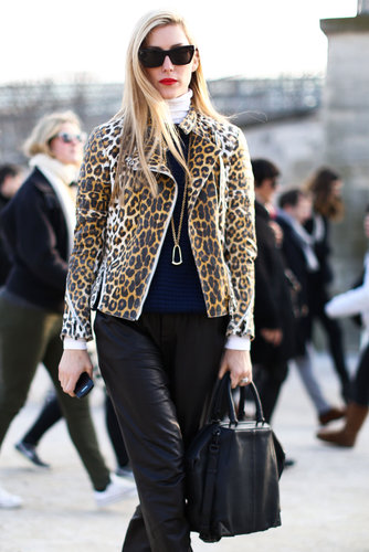Joanna Hillman styled up leather with a little leopard print for a killer effect.