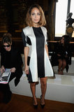 Nicole Richie wore a black-and-white striped Stella McCartney dress while sitting front row at the designer's show in Paris.