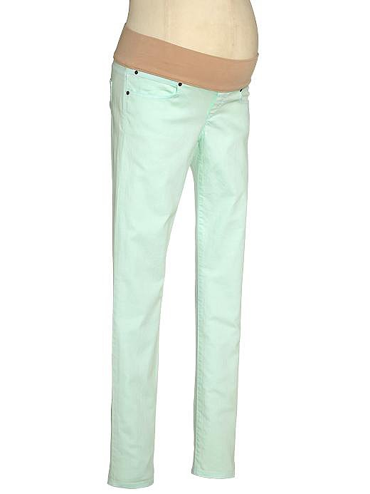 The sherbert-colored 1969 Demi Panel Always Skinny Jeans ($70) at Gap Maternity are a fun way to usher in Spring. The pale mint color helps lighten up the entire outfit.