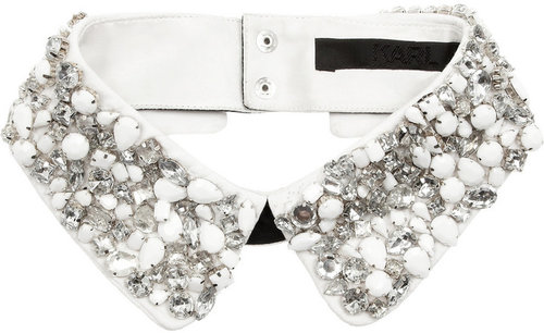 Karl Embellished cotton collar