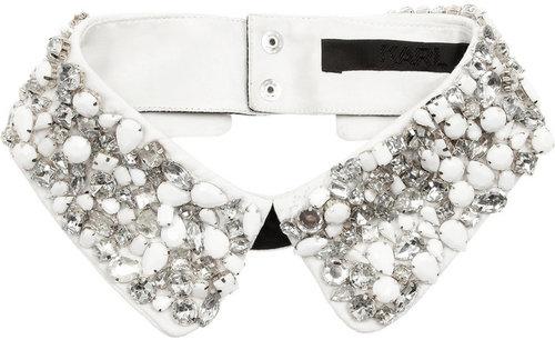 Karl Embellished cotton collar