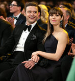 Jessica Biel held onto Justin Timberlake when they sat in the audience at the Grammys in Feb. 2013.