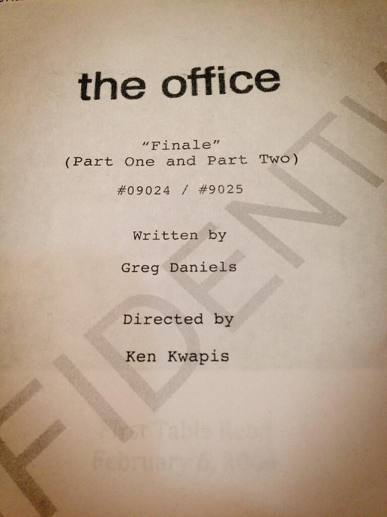The Office's John Krasinski posted a photo of the series finale script. Source: Twitter user johnkrasinski