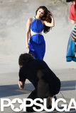 Selena Gomez worked her stuff in a blue dress.