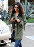 Vanessa Hudgens rocked a military-green shirt for St. Patrick's Day in March 2011 in LA.