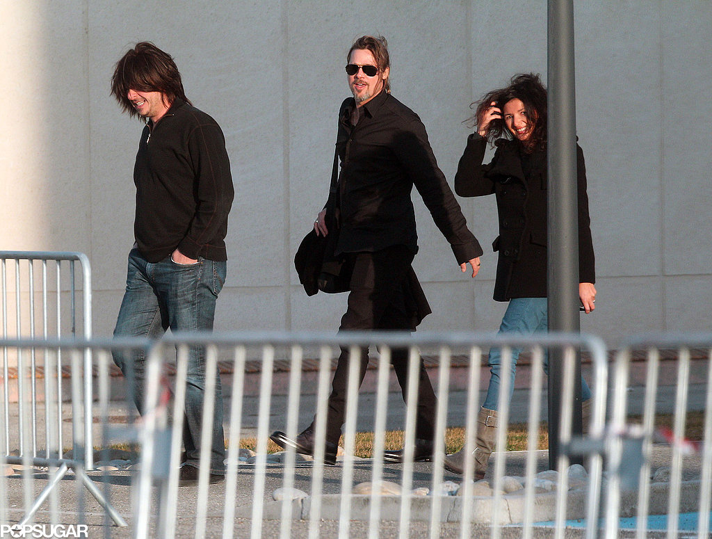Brad Pitt arrived in France with a group of friends.