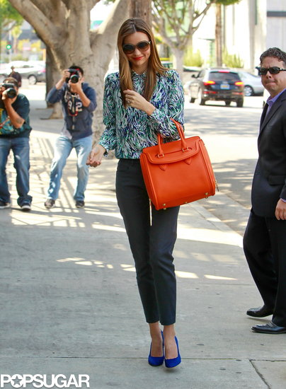 Miranda Kerr sported blue pumps.