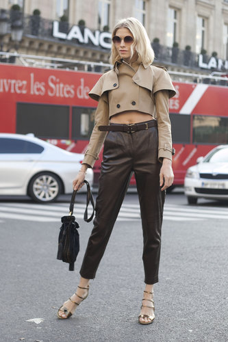 A trench-style crop top gave basic trousers a fashion-forward upgrade.