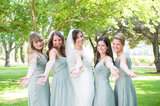 The J.Crew bridesmaid dresses were a similar sage-green color as the flowers.  Photo courtesy of Juliette Tinnus
