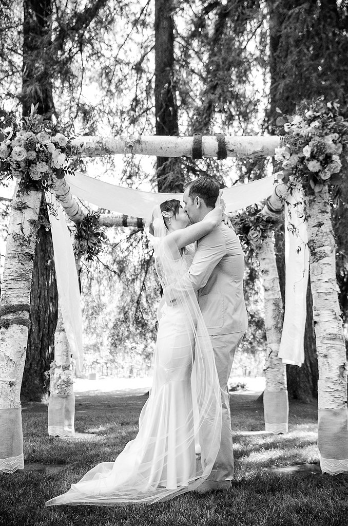 Fabric and flowers were a custom addition to the chuppah.  Source: Juliette Tinnus