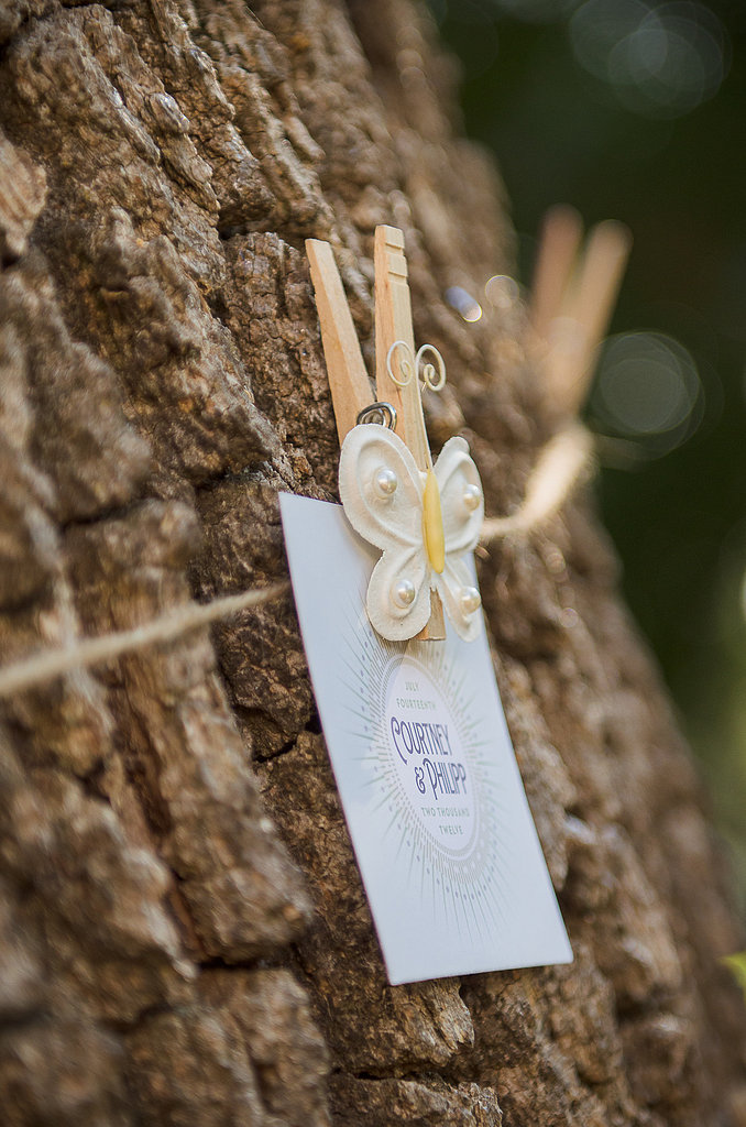 Special clothespins in the wedding colors were handmade by the bride's sister.  Source: Juliette Tinnus