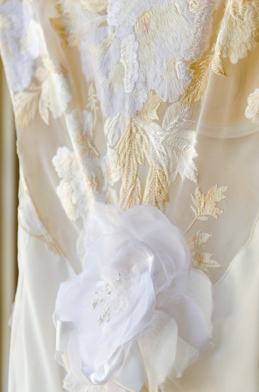 A close-up of the dress' intricate floral detail.  Photo courtesy of Juliette Tinnus