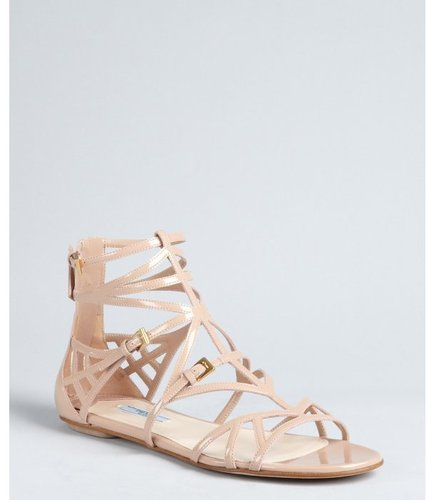 Prada nude patent leather cage sandals