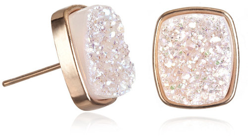Dara Ettinger Alicia Halo Druzy Rectangle Studs, Rose Gold