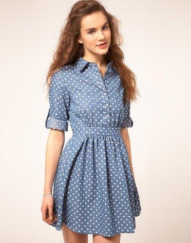 Sugarhill Boutique Denim Spot Dress With Cut Out Back