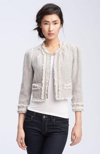 Rebecca Taylor Fringe & Chain Trim Tweed Jacket