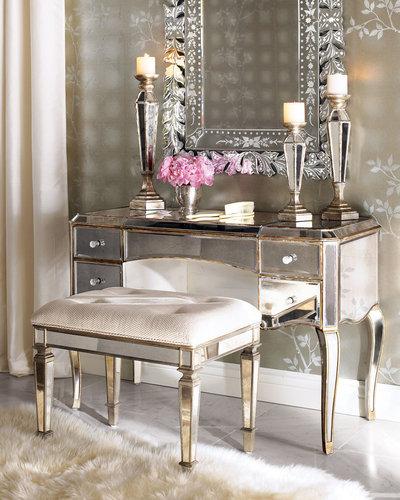 """Claudia"" Mirrored Vanity & Vanity Seat"