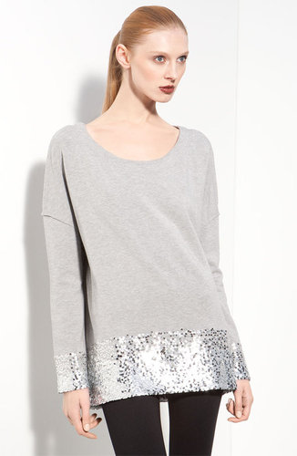 Donna Karan Collection Sequin Trim Jersey Pullover