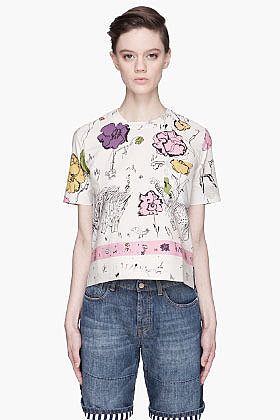 MARNI EDITION Pale beige sketch print t-shirt