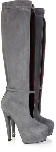 Halston Cutout suede knee boots