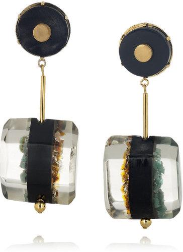 Marni Resin, horn and semi-precious stone clip earrings