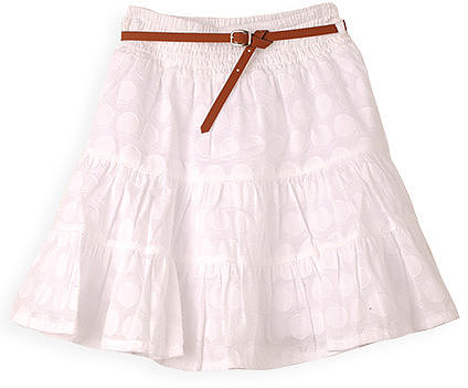 Self Spot Tiered Cotton Skirt