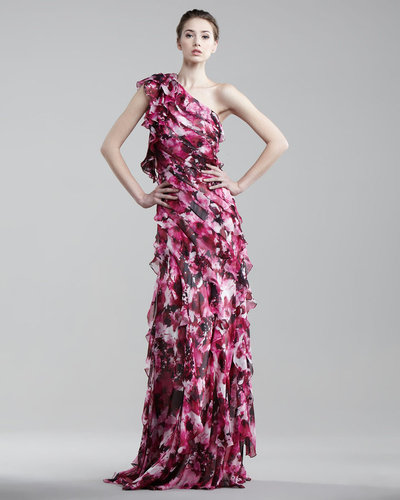 Carmen Marc Valvo One-Shoulder Tiered Ruffle Gown