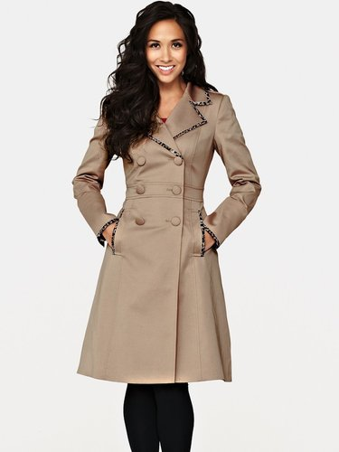 Myleene Klass Leopard Trim Trench Coat