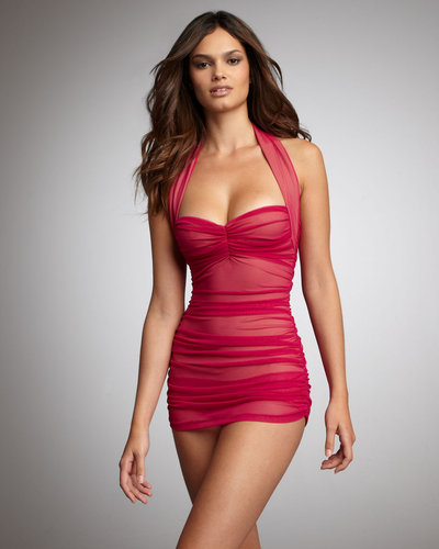 Norma Kamali Mesh Ruched Swimdress