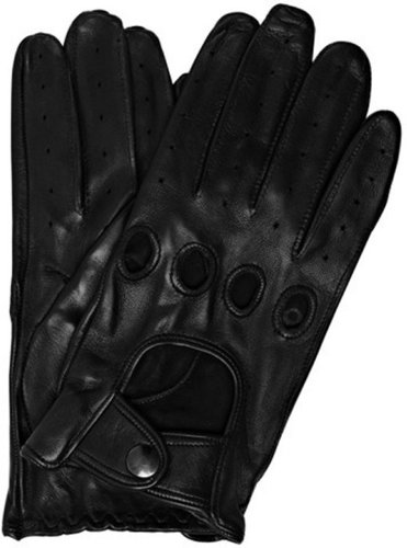 All Gloves black leather snap close driving gloves