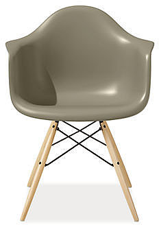 Eames Molded Plastic Chairs with Maple Dowel Leg Base