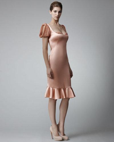 Alexander McQueen Peekaboo-Plisse Satin Dress