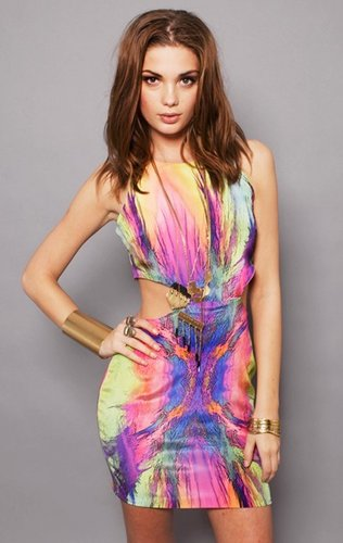 naven Cut Out Print Dress