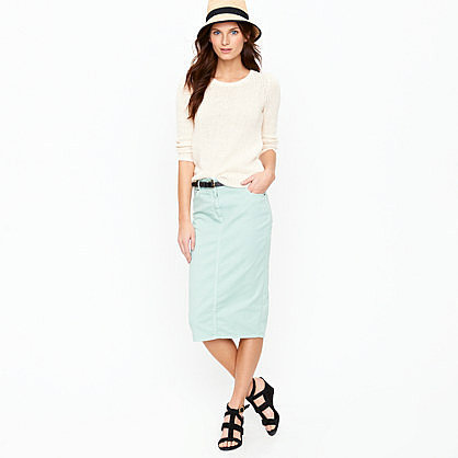 High-waisted pencil skirt in garment-dyed denim