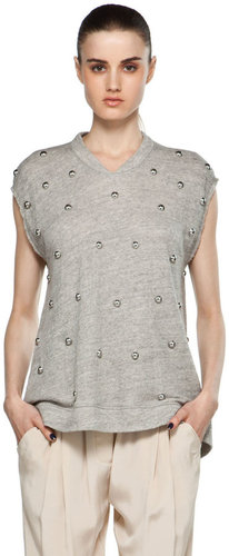 3.1 phillip lim Sleeveless Oversized Peplum T Shirt w/ Dome Embellishment in Soft Grey