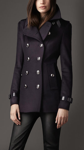 Short Wool Cashmere Trench Coat